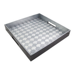 Belle & June - Shells Blue/Silver Square Tray - Everybody loves a warm summer day at the beach, on a boat or by the pool. Now you can serve your appetizers and drinks using a tray that is every bit as fun as the afternoon. And when not in use, it's perfect for showcasing your collectibles.