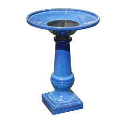 Smart Solar - Athena Blue Ceramic Solar on Demand Birdbath - Hand made ceramic birdbath with glazed blue finish. Creates a relaxing atmosphere on your patio, deck, balcony or in your garden. Solar-on-demand allows you to choose whenyou wish your birdbath to work using an easy on/off switch on the solar panel. Operate daily and use our battery technology to provide consistent performances even in cloudy weather, or turn off to charge during the day for night use. Battery will fully charge in 1 sunny day. Up to 6 hours of use on battery power when fully charged. Recycles water from a hidden reservoir. No wiring, simply install and enjoy. No operating costs. Basin capacity - 2.3 gallons.