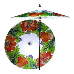 Oriental Unlimted - 7 ft. Tall Far East Garden Patio Umbrella in - Choose Base: NoneHandcrafted and hand-painted by master artisans. 100% Waterproof and extremely durable. Umbrella shade can be set at 2 different heights, 1 for maximum shade coverage and the other for a better view of the shade. An optional base, which secures the umbrella rod and shade against strong winds and rain. Patio umbrella rod and base is constructed of stained oak hardwood for a rich look and durable design. Umbrella shade is made of oil-treated cotton. Minimal assembly required. Canopy: 76 in. D x 84 in. HThis light-hearted and vibrant patio umbrella depicts a grove of wild flowers, suggesting prosperity and plenty. This 100% waterproof umbrella makes for a spectacular display in any outdoor setting and will provide plenty of protection from the sun and rain.