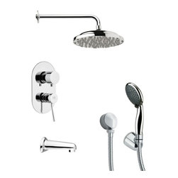 Remer - Round Contemporary Shower System - Multi function tub and shower faucet.