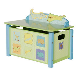 None - Children's Animal-Printed Toy Box - Perfect for any nursery or child's room, this fun animal toy box stores all of your little one's favorite toys and stuffed animals. The safety hinge helps to prevent minor injuries, and your child will be mesmerized by its cheerful print and colors.