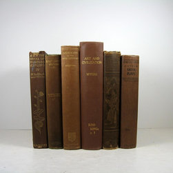 Home Decor Vintage Books - Shabby chic brown decorative books for warm addition to: