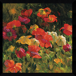 Amanti Art - Leon Roulette 'Iceland Poppies' Framed Art Print 32 x 32-inch - With an eye for light, color and composition, artist Leon Roulette creates charming images sure to brighten any wall. This lovely, floral art blooms with poppies all year long.