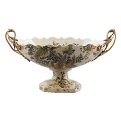 Oriental Danny - Porcelain Compote with Bronze Ormolu - Hand painted porcelain compote in green Moss Fern pattern. The oval shape basin holds floral arrangements or acts as a beautiful display by itself. The inside of the basin is also hand painted with pattern. Accented with bronze ormolu. Designed by Oriental Danny.