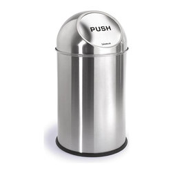 Blomus - Intro Stainless Steel Pushman Waste Bin - Round in shape. Made of stainless steel, matte finish. 1-Year manufacturer's defect warranty. 12 in. Dia. x 19.36 in. H