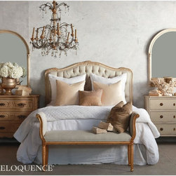 """Eloquence - Eloquence Sophia Two-Tone Gold Headboard - Eloquence's Sophia Headboard, made in the classic Louis XV serpentine style. Beautifully hand finished in our Two-Tone Gold and upholstered in our tufted Fog Linen fabric. Footboard is 40"""" tall. 5 yards to re-upholster. Available in Queen or King Size.*Please note: Does not come with pre-drilled holes or hardware."""