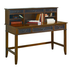 Hammary - Hammary Mercantile Desk with Hutch in Whiskey - Give your home office a rustic, old-world feel with this three drawer desk. From the Whiskey finish to the antique hardware this desk is perfect for those traditional, work spaces. For convenience, a Pull down keyboard tray, Mouse pad, and Pencil tray provide a great set up for busy days of homework and office work. The hutch provides additional storage and organization space with its many compartments. Three drawers, three open storage areas, six small cubby areas, and wire management make is possible to hold mail, bills and keep electronic cords out of the way.