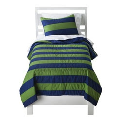 Circo Rugby Stripe Quilt Set, Blue/Green - I don't think any room can go wrong with classic rugby stripes. I love this budget-friendly blue and green version — and the darker colors will stay looking clean longer in a boy's room.