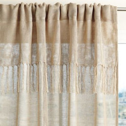 Serena & Lily - Fringed Linen Window Panel Flax - Nothing says relaxed elegance like linen. We added a loose weave for a more fluid drape and a valance made modern by a casual fringe.
