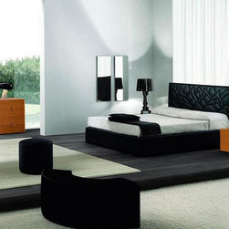 Made in Italy Leather Contemporary Modern Bedroom Sets with Extra Storage - Italian bedroom set with black eco-leather bed. This bedroom set is designed and made by SMA Mobili - Italy.