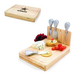 Picnic Time - Dallas Cowboys Asiago Folding Cutting Board With Tools in Natural Wood - The Asiago is a folding cutting board with tools that is another Picnic Time original design. This compact, fully-contained split-level cutting board is made of eco-friendly rubberwood. Lift up the top level of the board to reveal four brushed stainless steel cheese tools: a pointed-tipped cheese knife, cheese fork, cheese chisel knife, and blunt nosed hard cheese knife. The tools are magnetically secured to a wooden strip that lifts up so you can close the cutting board and display the tools. Designed with convenience in mind, the Asiago is great for home or anywhere the party takes you.; Decoration: Engraved; Includes: 4 brushed stainless steel cheese tools (1 pointed-tipped hard cheese knife, cheese fork, cheese chisel knife, and blunt nosed soft cheese knife