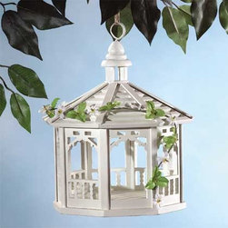 Wood White Gazebo Birdfeeder - This sweet birdfeeder is designed in the shape of a gazebo.  It's so cute you may be tempted to use it as a decorative piece in a sunroom or on a porch.