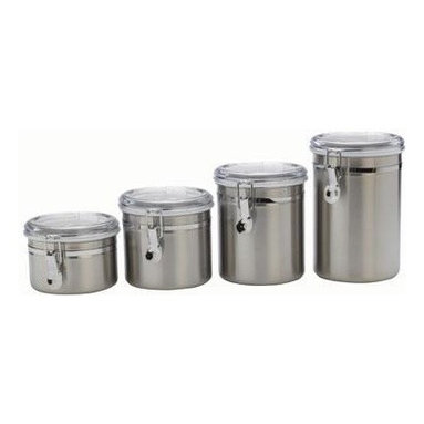 Anchor Hocking - 4pc SS Canister Set Clear Lids - Anchor Hocking 24954 4-Piece Stainless Clamp Canister Set with Clear Lid, Window Box allows you to see when you need to re-stock - Set includes 37oz., 38oz., 47oz., 63oz. Round Clamp Top Canisters - Air-tight seal
