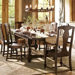"""Cortona Rectangular Extending Dining Table, Buffet & Chair Set, Alfresco Brown f - Crafted with the bold scale and detail of Spanish revival furniture, our Cortona Table & Chair Set was designed for lively celebrations where there's always room for one more guest. Built from poplar wood, it features thick baluster legs and a planked top that's meticulously hand distressed to give it a timeworn patina. Table: 86"""" long x 42"""" wide x 30"""" high Side Chair: 20.5"""" wide x 21"""" deep x 42"""" high Armchair: 25.5"""" wide x 21"""" deep x 42"""" high Table extends to 122"""" long with the two included 18"""" leaves, comfortably seating up to 8. Handcrafted with a kiln-dried hardwood frame. Finished by hand in our exclusive Alfresco Brown stain. View our {{link path='pages/popups/fb-dining.html' class='popup' width='480' height='300'}}Furniture Brochure{{/link}}."""