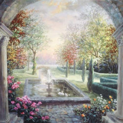 Murals Your Way - Mediterranean Tranquility Vinyl Wall Decal, Wall Art - Pillars frame a view of a formal garden and a pond featuring a fountain and white swans