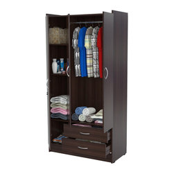 Inval America LLC - Inval 3-Door Espresso Armoire - The Inval 3-door armoire is a modern and functional storage solution for any home. This armoire is laminated in double-faced durable Melamine which is stain,heat and scratch resistant.