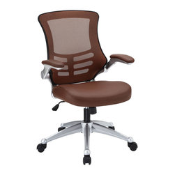 "Modway - Attainment Office Chair in Tan - Taking you where you need when you need it most. The Attainment Office Chair is a form-fitting ergonomic chair made from the most revolutionary advances in seating today. The breathable mesh back is curved to assist back and shoulder posture, while the lower frame provides exemplary lumbar support. With flip up arms, and a waterfall padded leatherette seat, enjoy your work from a place of comprehensive comfort. Set Includes: One - Clutch Office Chair with Black Mesh Back and Black Leatherette Seat. Breathable black mesh back; Sponge seat covered with black leatherette; Flip-up padded arms; Seat tilt with tension control; Adjustable Seat Height; Dual-Wheel Casters; Overall Product Dimensions: 28.5""L x 26.5""W x 39.5 - 43.5""H; Armrest Height: 27 - 31""H; Seat Height: 20 - 24""H; Back Height: 22.5""H."