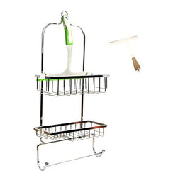 Taymor - Shower Caddy with Squeegee, Chrome - Easy to use and conveniant storage for all showers! You can use the shower caddy to store your bath items and the included squeegee on your shower door. Holds jumbo sized shampoo and conditioner bottles.