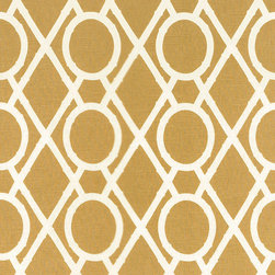 "Ballard Designs - Camargo Lattice Fabric By The Yard - Content: 100% Cotton. Repeat: Non-railroaded fabric with 9"" repeat. Care: Dry clean. Width: 55"" wide. Chippendale-inspired geometric of caramel and cream printed on linen-like 100% cotton  . Repeat: Non-railroaded fabric with 9"" repeat .  . Width: 55"" wide . Because fabrics are available in whole-yard increments only, please round your yardage up to the next whole number if your project calls for fractions of a yard. To order fabric for Ballard Customer's-Own-Material (COM) items, please refer to the order instructions provided for each product.Ballard offers free fabric swatches: $5.95 Shipping and Processing, ten swatch maximum. Sorry, cut fabric is non-returnable."