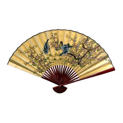 """Oriental Furniture - Gold Leaf Birds and Flowers Fan - 30""""H x 48""""W - Lovely hand crafted oriental wall art. An elegant gold leaf decorative wall fan decorated in a beautiful hand painted Asian art motif, with blossoming tree branches & three delicately rendered birds."""