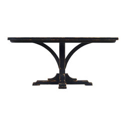 Stanley - Artisan Pedestal Table Base, Ebony - A gathering place for friends and family, dark finishes, curved base and gently distressed top give this pedestal table vintage charm.