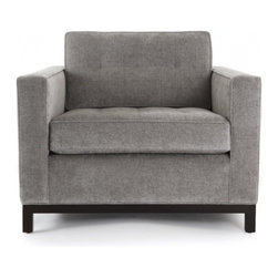 ecofirstart - Carson Chair - Sleek and structured, this chair will act as the perfect neutral in your decor, a grounding piece for your whole room to flow out from. With elegant slate upholstery and an exposed wooden base, this modern armchair will quickly become your favorite seat in the house.