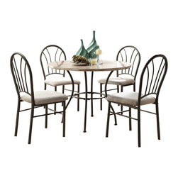 Homelegance - Homelegance Shawnee 5-Piece Marble Dining Room Set with Graphite Metal Base - Decidedly understated, the round metal tube framing of the Shawnee collection is a lovely addition to your home. Scaled for the cozy apartment or casual breakfast nook, the creamy faux marble top completes the contemporary look that you wish to achieve. The coordinating chairs in this 5-Piece collection feature cream color fabric that contrasts beautifully with the graphite powder coated metal. The set features one table featuring a 40'' diameter and a 29.5'' height, and four chairs featuring a 17'' width a 21.5'' depth and a 37.5'' height.
