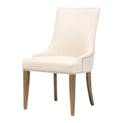 Marco Polo Imports - Baxter Dining Chair - Classically elegant 100% linen upholstered dining chair with decorative nail heads.