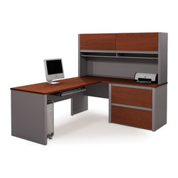 Bestar - Bestar Connexion Bordeaux & Slate 71 x 83 L-Shaped Workstation Desk - The desk is made of durable 1 inch commercial grade work surface with melamine finish that resist scratches stains and wears. It features an impact resistant 0.25 cm PVC edge. Grommets and a rubber strip are available on the station for efficient wire management. The hutch for credenza offers two flip up doors large closed storage space efficient wire management and two large paper shelves. The doors are fitted with strong lift up hardware. The assembled oversized pedestal facilitate the assembly and offers two file drawers with letter/legal filing system. The drawers are on ball-bearing slides and the keyboard drawer features double-extension slides for a smooth and quiet operation. The workstation meets or exceeds ANSI/BIFMA performance standards and is fully reversible. Also available in Slate and Sandstone finish. Connexion is a contemporary and durable collection that features a wide variety of configuration options that will adapt to your specific needs.Nowadays performance productivity and quality of life are fundamental to achieving our personal and professional goals. Bestar's home and office furniture design is based upon these criteria as well as on today's reality. On average we spend about 40 hours a week at work (home or office) which represents a large portion of our time. Various factors have a direct impact on our well-being at work: an important concern in the current employment environment continually changing and at an ever-increasing pace. Therefore organizing your space is certainly a parameter to consider. Features include Strong and large work surface Plenty of room to organize your documents Storage space for your documents and personal items. Specifications Finish/color: Bordeaux & Slate.