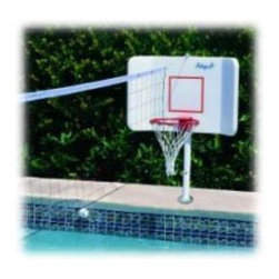 Meese Orbitron Dunne - Deck Mount Swimming Pool Basketball and Volleyball Set Multicolor - 46752-WISSDM - Shop for Floats and Toys from Hayneedle.com! Can't decide between basketball and volleyball? Have both with the Swimming Pool Deck Mount Bball and Vball Set. Rotationally molded from UV-resistant polyethylene this kit mounts onto a concrete deck and easily converts between basketball and volleyball setups. A powder-coated aluminum pole supports games and a support pole slides out from a sleeve for unit storage. The patented winged backboard design prevents airballs. Setup is quick and easy so you can get right to the action. A volleyball and volleyball net are included. Assembled dimensions: 38L x 22W x 50H inches.