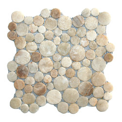 "CNK Tile - Glazed Mixed Quartz Moon Mosaic Tile - Each stone is carefully selected and hand-sorted according to color, size and shape in order to ensure the highest quality pebble tile available.  The stones are attached to a sturdy mesh backing using non-toxic, environmentally safe glue.  Because of the unique pattern in which our tile is created they fit together seamlessly when installed so you can't tell where one tile ends and the next begins!     Usage:    Shower floor, bathroom floor, general flooring, backsplashes, swimming pools, patios, fireplaces and more.  Interior & exterior. Commercial & residential.     Details:    Sheet Backing: Mesh   Sheet Dimensions: 12"" x 12""   Pebble size: Approx 3/4"" to 2 1/2""   Thickness: Approx 3/8""   Finish: Glazed Quartz"