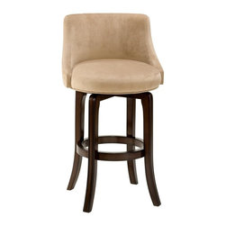 Hillsdale - Napa Valley Swivel Counter Stool - Textured K - Choose Seat Height: 25 in.For residential use. Dark brown cherry color. Hillsdale Furniture's Napa Valley swivel stools are the essence of transitional design with sturdy tapered legs and fully-upholstered barrel style back. Constructed of solid wood with veneer and finished in a rich dark brown cherry. These handsome stools coordinate with most decors, are available in either bar or counter heights and swivel 360 degrees. A perfect addition to your bar, den or kitchen area. Seat Height: 25 in.. 23.25 in. W x 23.25 in. D x 36 in. H