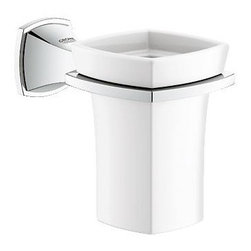 Grohe - Grohe 40626000 Grandera 1-Hole Wall Mount Ceramic Tumbler With Holder, StarLight - Grohe 40626000 Grandera 1-Hole Wall Mount Ceramic Tumbler With Holder, StarLight Chrome The GROHE Grandera collection is both a homage to an age of grandeur long past and an affirmation of a modern sensibility, combining the highest standards of quality and craftsmanship with a love of detail and comfort. Stylistically, the Grandera collection can be combined with a wide range of bathroom furnishings, with the added flexibility of two colors - chrome and chrome/gold. Thanks to GROHE StarLight technology, not only will the fittings retain their shine in the long term but they are also extremely resistant to dirt and scratches. Grohe 40626000 Grandera 1-Hole Wall Mount Ceramic Tumbler With Holder, StarLight Chrome Features: 1-hole installation Wall mount type Holder constructed of brass Chrome or nickel finish Grohe 40626000 Grandera 1-Hole Wall Mount Ceramic Tumbler With Holder, StarLight