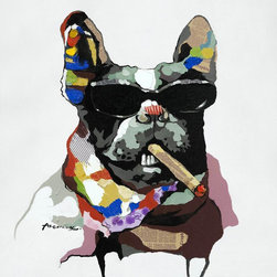Yosemite Home Decor - Yosemite Home Decor ARTAAA0308 Cool GearHome Decor Revealed Artwork Collection C - Contemporary painting of a dog wearing sunglasses rendered with bold strokes of red, yellow, blue, gray, brown, and black. Newsprint and a pale gray background complete this striking piece.