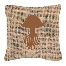 Caroline's Treasures - Jellyfish Burlap and Brown Fabric Decorative Pillow Bb1089 - Indoor or Outdoor Pillow from heavyweight Canvas. Has the feel of Sunbrella Fabric. 18 inch x 18 inch 100% Polyester Fabric pillow Sham with pillow form. This pillow is made from our new canvas type fabric can be used Indoor or outdoor. Fade resistant, stain resistant and Machine washable..