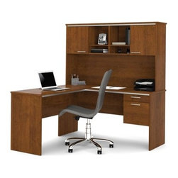 Bestar - Bestar Flare Tuscany Brown 59 x 59 L-Shaped Workstation Desk - Its silver decorative moldings and handles provide refinement and elegance. Commercial grade 3/4 in. work surfaces with melamine finish that resists scratches stains and burns with 3/4 in. decorative rail under top. Pedestal with 1 utility drawer and 1 file drawer which allows for letter/legal filing system. The file drawer is mounted on ball-bearing slides for smooth and silent operation. Grommet on the desk for efficient wire management. USB hub on desk surface. Hutch offers decorative rail under top two doors and paper management. Fully reversible. Finished back. This compact L-shaped desk is perfect for small spaces.Nowadays performance productivity and quality of life are fundamental to achieving our personal and professional goals. Bestar's home and office furniture design is based upon these criteria as well as on today's reality. On average we spend about 40 hours a week at work (home or office) which represents a large portion of our time. Various factors have a direct impact on our well-being at work: an important concern in the current employment environment continually changing and at an ever-increasing pace. Therefore organizing your space is certainly a parameter to consider. Features include Strong robust and durable furniture Plenty of room to organize your documents Effective cable management with the integrated USB port. Specifications Finish/color: Tuscany Brown.