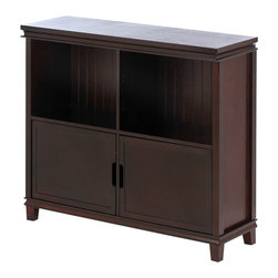 Gifts Galore - Espresso Wood Cabinet - Showcase and store your treasures in this rich espresso colored cabinet.  Decorate the top with stylish accents and fill the two interior shelves with your favorite decor, while two doors below open to reveal the perfect storage solution for any room.  Some assembly required.  Due to the size and weight of this item, we are ONLY able to ship it within the continental United States, to physical address locations, and ONLY via UPS Ground.