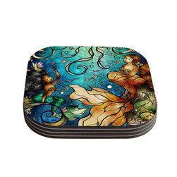"Kess InHouse - Mandie Manzano ""Under the Sea"" Mermaids Coasters (Set of 4) - Now you can drink in style with this KESS InHouse coaster set. This set of 4 coasters are made from a durable compressed wood material to endure daily use with a printed gloss seal that protects the artwork so you don't have to worry about your drink sweating and ruining the art. Give your guests something to ooo and ahhh over every time they pick up their drink. Perfect for gifts, weddings, showers, birthdays and just around the house, these KESS InHouse coasters will be the talk of any and all cocktail parties you throw."