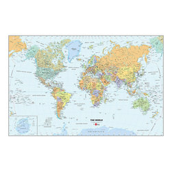 """WallPops - World Dry-Erase Map Wall Decal - Decorate your walls with a classic look and a functional tool, by adding a Dry-Erase Map of the World to your home or office. The World Dry-Erase Map is 24""""w x 36""""h, is completely repositionable, and comes with a free WallPops dry-erase marker."""