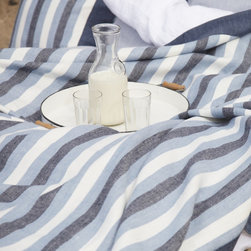 Libeco - Santa Cruz Blanket - The gorgeous Santa Cruz blanket will make you long for a trip to its namesake. Finished with a wide, mitered border, it can be used as a decorative element in the living room, bedroom or as a throw on summer evenings. Pillow covers are available in stripe, chambray, jeans, and navy and are finished with a zippered closure.