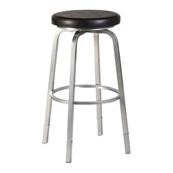 """Hillsdale - Hillsdale Neeman Backless Adjustable 26"""" or 30"""" Counter Bar Stool with Nested Le - Hillsdale - Bar Stools - 5163830 - Simple and unassuming the Neeman Nested Leg Stool is flexible in both style and function. With legs that adjust from counter to bar heights and back again as well as a lack of defined design this backless stool can move seamlessly from room to room space to space. The Neeman has a silver base complemented by a glossy black vinyl seat. The Neeman boasts a 360 degree swivel stool as well. Some assembly required."""