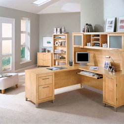 Bush - Contemporary 4 Pc Office Furniture Set - Bring modern style into your home office with this essential four piece office set.  The L-shaped desk with hutch is finished in maple and includes ample storage and desk space.  A matching bookcase features adjustable shelves in order to provide the best possible storage experience.  An included lateral file cabinet offers two file drawers that can hold letter and legal sized documents.  Lateral file has two drawers and holds letter and legal size files. * Features an attractively designed 60 Inch L-Desk & Hutch. Maple Cross finish. Office Furniture Set Components: L Desk WC81430, Hutch WC81431, Lateral File WC81480 & Bookcase WC81465. File drawer for letter & legal-size files. L-Desk:59.173 in. W x 59.173 in. D x 29.134 in. H. Hutch:59.094 in. W x 13.701 in. D x 35.709 in. H. Lateral File:29.567 in. W x 21.654 in. D x 29.094 in. H. Bookcase:29.567 in. W x 12.795 in. D x 65.236 in. H