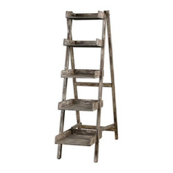 Uttermost - Annileise Bookshelf - Compact, easel style folding design with five wooden shelves in a sun faded, weathered charcoal finish showing multiple layers of hand distressing.