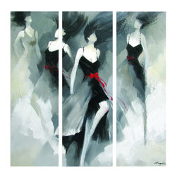 Yosemite - Yosemite FC2853 Dancing the Clouds Wall Art - Yosemite FC2853 Dancing the Clouds Wall ArtDancing in the Clouds is a hand painted, figurative artwork that comes in 3 canvasses. It showcases elegant black dresses with a red ribbon as an accent. The painting is composed of different shades of gray and black. The way the colors are mixed creates a rather elegant effect, rather than a downcast effect. Dancing in the Clouds is a very beautiful artwork that will bring sophistication to a room.Yosemite FC2853 Features: