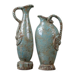 Silver Nest - Parisian Pitchers - Set of 2 - These vases feature a distressed, crackled light sky blue ceramic with antique khaki undertones accented by braided handles and embossing. Sizes: Sm-8x16x4, Lg-7x18x5