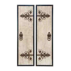 UMA - Antique Portal Wall Panel Set of 2 - Two panels within one artwork featuring antique style door knobs and fleur de lis brackets