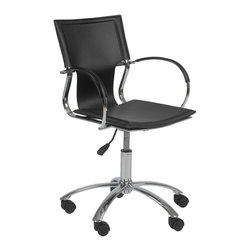 Eurø Style - Vinnie Black Leather Office Chair - Perfect for contemporary style office, this Vinnie Office Chair by offers both style and comfort. The chair's seat, back and armrests are upholstered in black leather, while chromed steel frame provides great stability and support. Also available in brown and white.