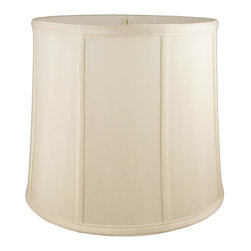American Heritage Shades - Round Drum Lampshade in Eggshell (16 in. Diam x 13 in. H) - Choose Size: 16 in. Diam x 13 in. HLampshade Types. Shantung faux silk with off-white fabric liner. Hand made. Matching top, bottom and vertical trim. Enhances lamp and room decor. Made from polyester and fabric. Fitter in brass color. Made in USA. No assembly required