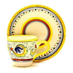 Artistica - Hand Made in Italy - Perugino: Classic Espresso Cup and Saucer - Perugino Collection: The Perugino pattern is an Artistica's exclusive. It was inspired by the Deruta's classic Raffaellesco a design that traces his origins from the XVI Century graceful arabesques of painter Raphael famous frescoes.