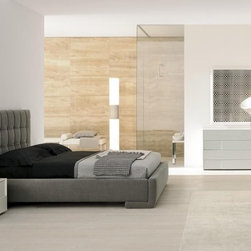Made in Italy Quality Platform Bedroom Furniture Sets - Stylish modern Italian bedroom set with fabric padded bed. Two nightstands and a dresser in white dove ash accompanies this modern Italian platform bed in graphite color linen to complete this Prestige bedroom collection.